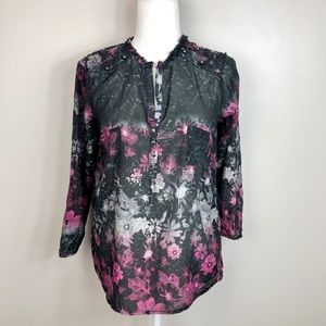Desigual Dark Floral Cotton Silk Blouse M